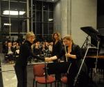 Tatjana Milošević, kompozitorka sa izvođačima Marina Nenadović, flauta Neda Hofman, klavir