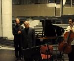 Kompozitor Vladan Radovanović sa izvođačima Jonatan Gotlibovič, violončelo Amit Dolberg, klavir