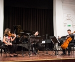 Tijana Milošević, violina, Nemanja Stanković, violončelo i Nikola Peković, harmonika izveli su kompoziciju Petre Strahovnik